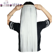 S-noilite Real Thick Silver Grey Straight Clip in Hair Extensions Extension 5 Clips ins Synthetic Cosplay Party Hairpiece