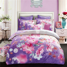 Light Purple Flowers Bedding Queen King Size Thick Soft Sanding Cotton Fabric Duvet Cover Sets Flat Sheet Pillow Cases(China)