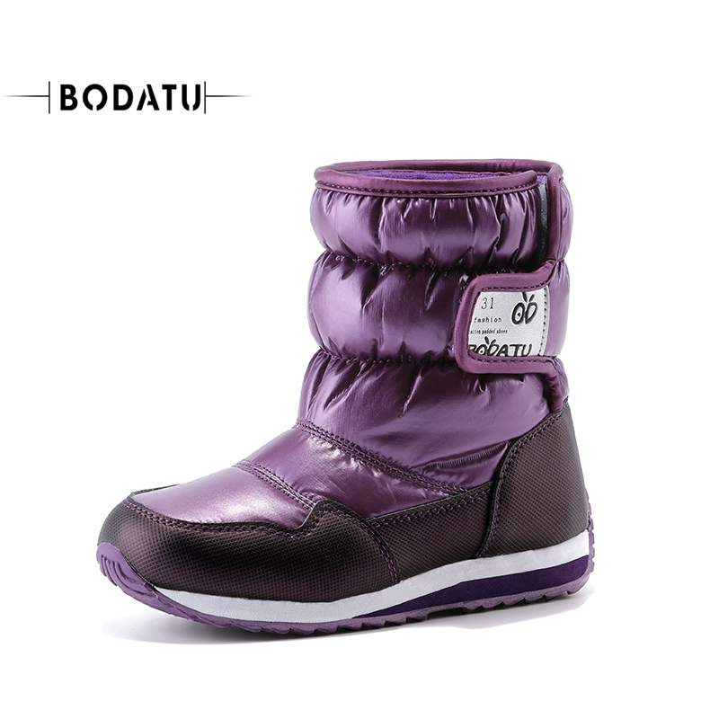 BODATU  Childrens Winter Shoes -25 Degree Girls Outdoor Warm Boots Kids Fashion Waterproof  Boys Trifle Mid-Calf Snow Boots D001<br>