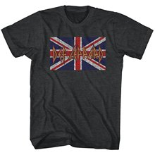 Quality Print New Summer Style Cotton Def Leppard Union Jack Logo Uk Flag Men's Gray T-shirt