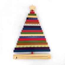 New Creative Design Mini Wooden Handmade Decorative Christmas Tree Adjustable Striped Christmas Tree Toys Gift For Christmas(China)
