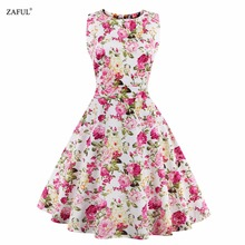 Women Summer Dress 2016 Plus Size Vintage Floral Print 50s 60s Style Dress Women O-neck Sleeveless Party Clubwear Formal Dress