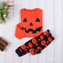 New Arrival Baby Boy Girl clothes Children's Wear Pajamas Boy And Girls Pumpkin Halloween Costume Long-Sleeved T-Shirt Pants Set