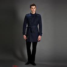 2018 New Trench Coat Men Classic Double Breasted Mens Long Coat Masculino Mens Clothing Long Jackets & Coats British Style Overc(China)