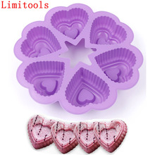 1pc 6-Cavity Heart Silicone Cake Pan 3D Baking Chocolate Biscuit Pudding Mold DIY Fondant Cake Decorating Tools(China)