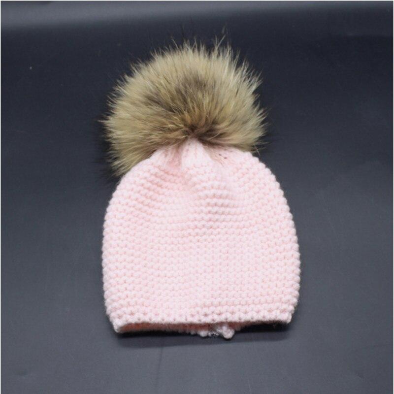 Baby Girl Boy Raccoon Fur Pompon Winter Knitted Hat Cap Crochet Real Fur Ball Pompom Children Hat Beanie Kid Pom Pom Ski BonnetÎäåæäà è àêñåññóàðû<br><br><br>Aliexpress
