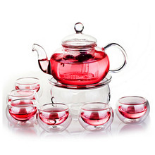 800ML Borosilicate Heat-resistant Glass Tea Pot Set Infuser Teapot Warmer With Strainer Flowers 6 Double Wall Tea Cups