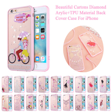 Pink Girl Fashion Acrylic TPU Diamond Carton Back Cover Phone Case For Apple iPhone 7 6 6S Plus 5 5G 5S SE With Dust Plug