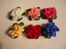 Crochet flower hand woven pattern child hair Knitting flower baby hair bands hats shoe sweater corsage  Garment accessories