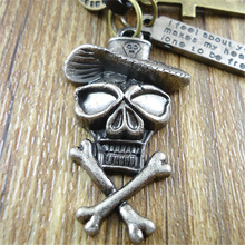New Punk Long Genuine Leather Cross Skull Skeleton Head With Hat Pendant Charms Men's Vintage Necklace For Women Men Jewelry