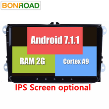 "RK3188 2Din 9"" Android 7.1.2 Car Multimedia Player for VW GOLF 5 Golf 6 Polo Passat Jetta Tiguan Touran GPS Navigation for Skoda(China)"