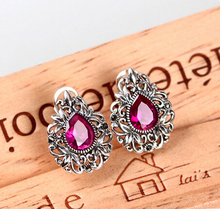 XUEYUN 411+++Vintage Red ear clip Tremella female fashion Japanese and Korean jewelry accessories(China)