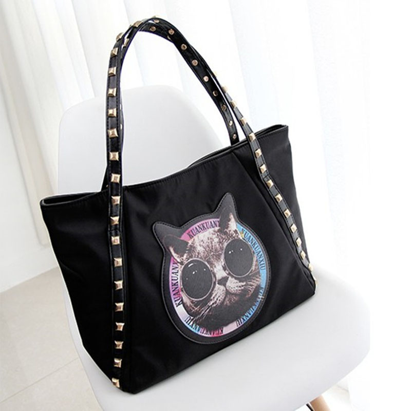 2017 Animal Printed Rivet Punk Style Cat Eye Tote Shoulder Bag 2015 PU Leather Big Handbag Luxe Femme Bolso Sac A Main De Marque<br><br>Aliexpress