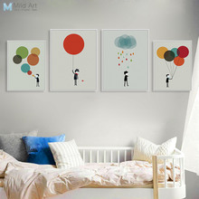 Abstract Colorful Balloon Boy Large Canvas Art Print Poster Living Room Wall Picture Paintings Modern Nordic Home Decor No Frame(China)
