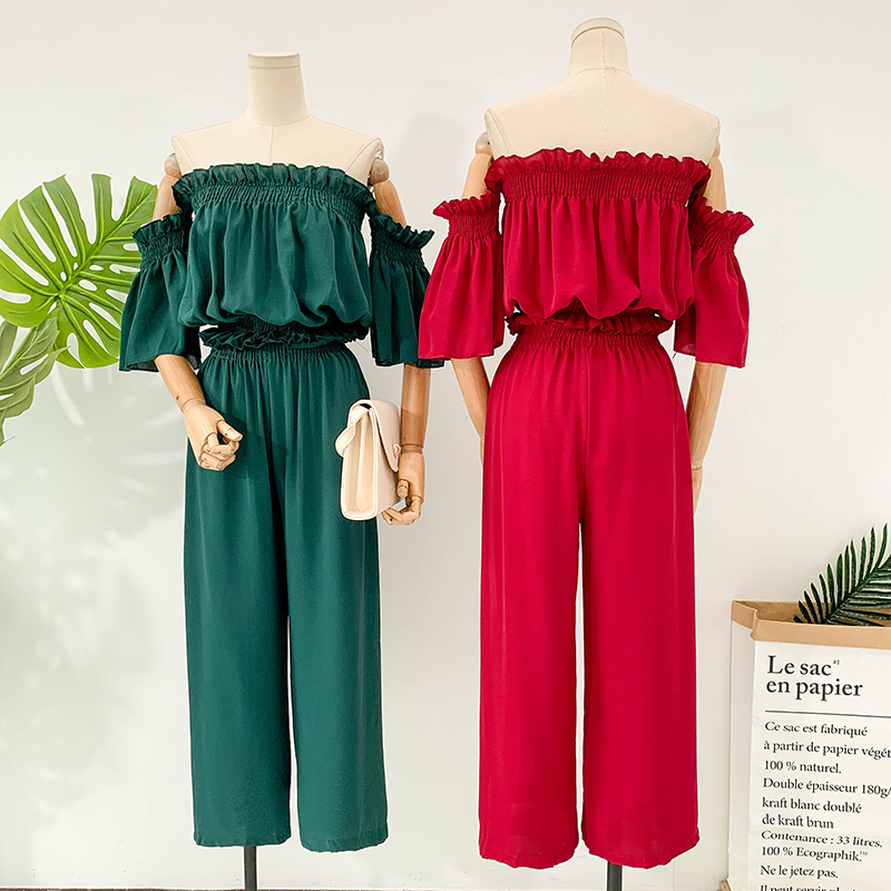 two piece set women  solid slash neck flare sleeve ruffles chiffon shirt + high waist wide leg pants suit female two piece sets