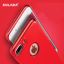 New China Red Case For iPhone 6 Plus for iPhone7 Plus Back Soft TPU Cover Slim Skin Protection Eletraplated FOR Samsung S8 Plus