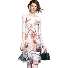 Buy spring summer European large size silk dress Retro printing Chiffon Loose dress 2017 fashion Women Round neck dress LU59 for $20.69 in AliExpress store