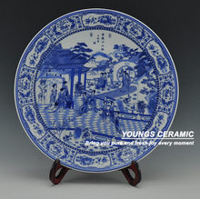 Big Chinese Antique Blue White Porcelain Wall Decorative Ceramic Plates For Wall Hanging(China)
