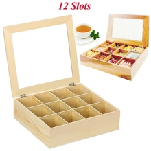 New 12 Compartments Wooden Tea Box Large Tea Bag  Nature Wood Storage Box Container