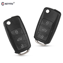 KEYYOU 3 bouton Pliage Chiquenaude De Voiture À Distance Shell Key Case Fob Pour VW Passat Polo Golf Touran Bora Ibiza Leon octavia Fabia(China)