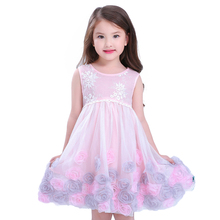 2017 party Dress Toddler Children Girls Rose Princess Dress Sleeveless Tutu Kids Baby Girl Flower Dress Top Quality vestidos