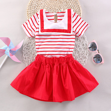 2017 children's wear cotton suit children's summer 2-5 years old girl striped Navy collar T-shirt + skirt two pieces