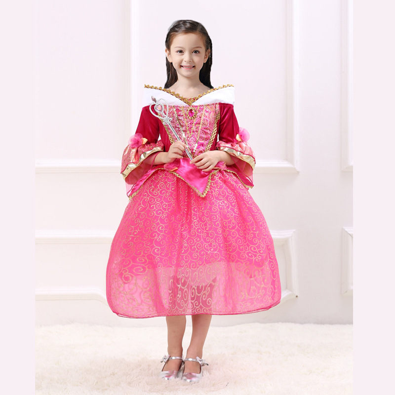 3-10Y Half Sleeve Children Girls Aurora Princess Dresses Halloween Kids Sleeping Beauty Dress for Girl Christmas Cosplay Costume<br><br>Aliexpress