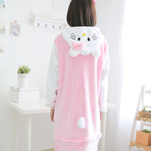 Free Shipping Cartoon Design Adult Animal Onesies Hello Kitty Flannel Winter Pajamas Women Sleepwear Jumpsuit Cosplay Costumes
