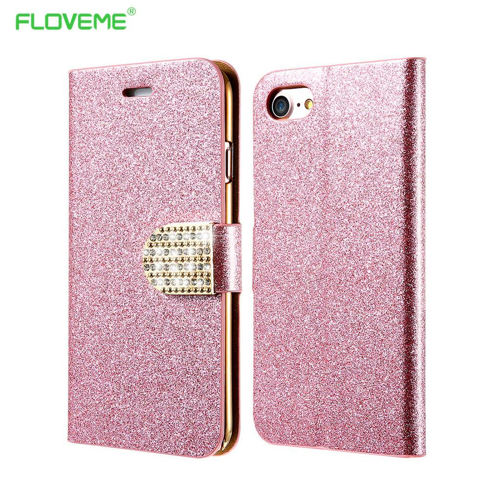 FLOVEME Case Samsung Galaxy Note 8 Plus Cover Glitter Bling Crystal Diamond Leather Wallet Case Samsung Galaxy S8 Plus