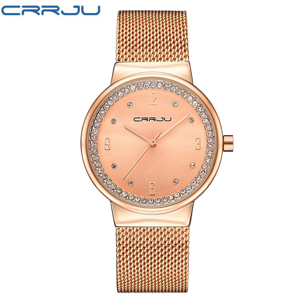 CRRJU Brand Luxury Diamond Rose Gold Stainless Steel Mesh belt Watch Women Fashion Dress Watches Female Waterproof Wristwatch<br>