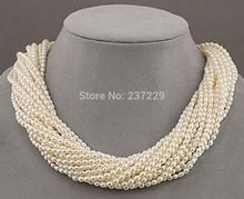 "Hot selling>@@ Wholesale price S^^^^^12 strands Very beautiful AAA+++ south sea white seed pearl twisted necklace 18"" -Bride jew"