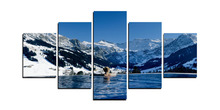 5 Panels  Canvas Prints Snow mountain And Swimming Pool Painting for Living Room Wall Art Picture Gift Home Decoration FIV00403