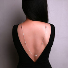 New design pearl beads backdrop neckace back deep V bride wedding jewelry long necklace back chain backless dress accessories