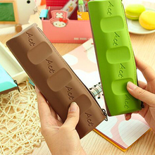 New Fashion Silicone Chocolate Style Pencil Pen Case Cosmetic Bag Coin Purse Makeup Storage Bags School Prize Kid Gift