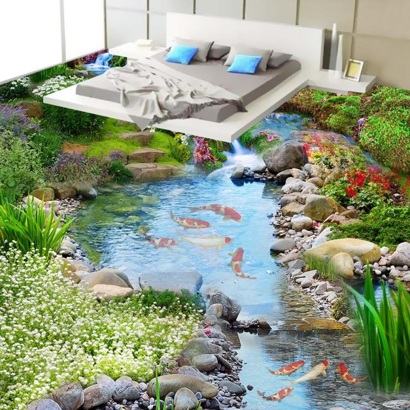 Free Shipping Creek water carp 3D floor wear non-slip waterproof flooring bathroom living room bedroom wallpaper mural<br>