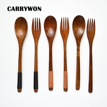 CARRYWON 1 Set Quality Life Wooden Tableware Bamboo Kitchen Cooking Utensil Tool Soup Teaspoon Catering Black Khaki
