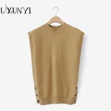 LXUNYI Women Knitted Vest O-neck 2017 Female Autumn Wear Loose Sleeveless Vest Sweater Button Pullover Tops Plus Size 3 Colors(China)