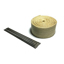 5m  x  2 inch Beige Exhaust Muffler Pipe Header Heat Resistant Exhaust Wrap With Stainless Steel Cable Ties