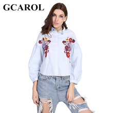 GCAROL 2018 Early Spring Women Embroidered Floral Blouse 3 Colors High Quality Fashion Casual Cropped Tops(China)