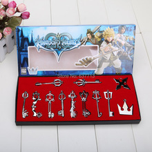 12pcs/set Kingdom Hearts Cosplay Necklace Sora Keyblade Keychain Metal Figure Toy Pendants