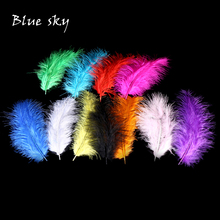 Blue Sky DIY Turkey Feathers 50 pcs 10-15 cm 4-6 Inches Wedding Decoration Feathers Plumes Clothing Accessories Feathers(China)