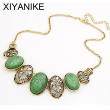 European and American style retro hollow oval exaggerated imitation gemstone necklace female Free shipping XY-N290