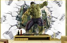 Free Shipping 3D Hulk breaking down wall sofa TV background wall children room playground internet cafe wallpaper mural