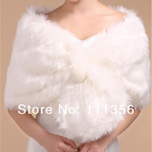 Ivory White Black Faux Fur Jacket Bride Wrap Shrug Wedding Bolero Bridal Shawl Cape
