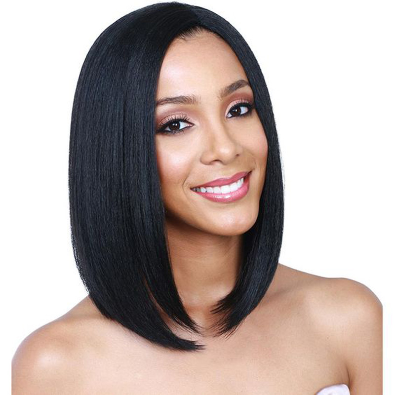 Black Wig Silky Straight Hair Bob Wig for Black Women Heat Resistant African American Synthetic Wigs Glueless Bob Lace Front Wig<br><br>Aliexpress