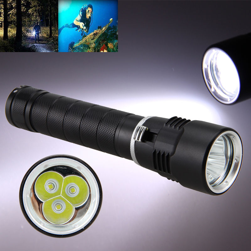 2300LM 3x XM-L T6 LED Diving Aluminum Flashlight Torch Underwater 26650<br>
