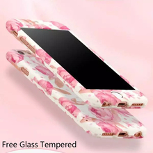 New Flower Design 360 Degree case For iPhone 6 6S Plus Full Body Protective Cases Cover With+Tempered Glass lovely cute case