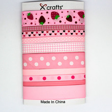 PPCrafts Pink Colors Satin/Grosgrain/Printed Ribbon Mixed Set for Baby's Hair Bows Making 1yard/color