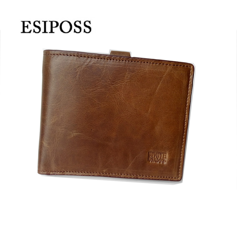 ESIPOSS Brand Men Wallets Bifold Purse Genuine Leather Wallet Card Holder Mini Male Walet dollar price Key Hook Clip Zip Coin(China)