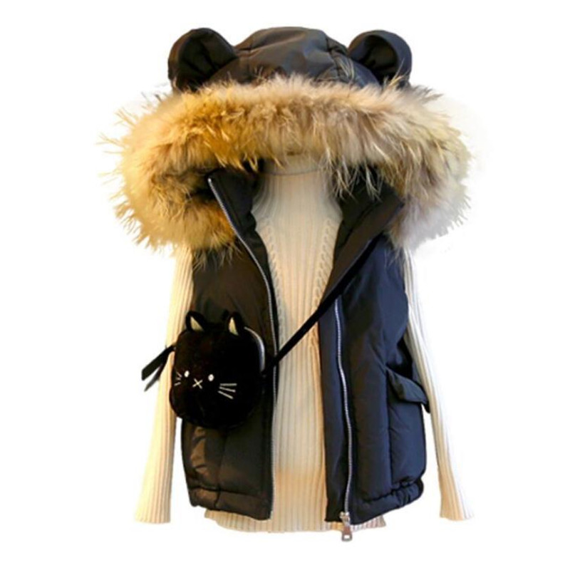 DFXD New Fashion Winter Children Sleeveless Waistcoat Black/White Fur Collar Cartoon Hooded Zipper Thick Down Vest Coat 2-7Years